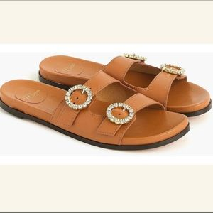 J. Crew Bedford Two Strap Jeweled Sandals Size 7